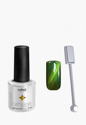Набор для ухода за ногтями Runail Professional магнит и Гель-лак Cat's eye золотистый блик, цвет: Яванская кошка. Цвет: зеленый