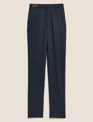 Классические брюки из итальянской шерсти цвета индиго M&S Collection. Цвет: индиго