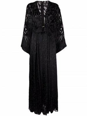 Платье с леопардовым принтом Azzaro. Цвет: черный