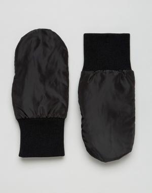 Черные дутые варежки ASOS. Цвет: черный