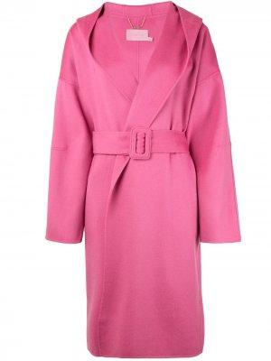 Пальто с капюшоном и поясом Zimmermann. Цвет: розовый