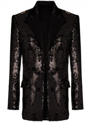 Пиджак с пайетками Balmain. Цвет: черный