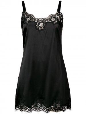 Комбинация с кружевом Dolce & Gabbana. Цвет: черный