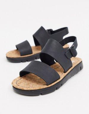 Черные кожаные сандалии -Черный Camper