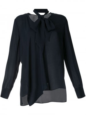 Блузка с завязкой Elie Tahari. Цвет: синий