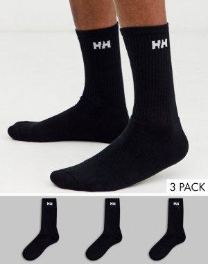 Набор из 3 пар черных носков с логотипом -Черный Helly Hansen