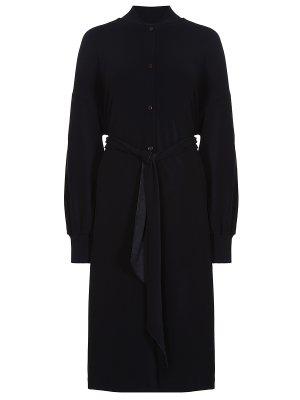 Платье-миди с поясом BY MALENE BIRGER. Цвет: черный