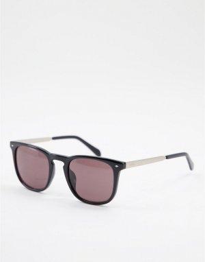 Солнцезащитные очки с квадратными стеклами 3087/S-Черный цвет Fossil