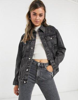 Черная выбеленная джинсовая куртка в стиле oversized Wednesdays Girl-Черный цвет Wednesday's Girl