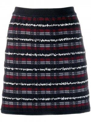 Твидовая мини-юбка в клетку Thom Browne. Цвет: синий