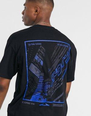 Черная футболка с принтом на спине Tokyo-Черный Edwin