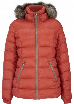 Утепленная куртка с меховой отделкой bonprix. Цвет: корич-невый