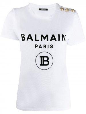 Футболка с логотипом Balmain. Цвет: белый
