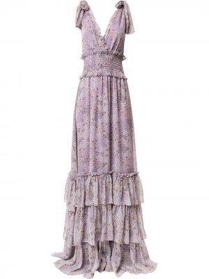 Ярусное платье макси Alexis. Цвет: фиолетовый