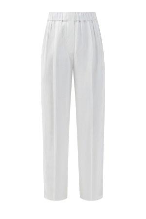 Расклешенные брюки из льняной ткани BRUNELLO CUCINELLI. Цвет: белый