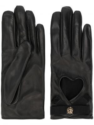 Перчатки с вырезами в виде сердца Gucci. Цвет: черный