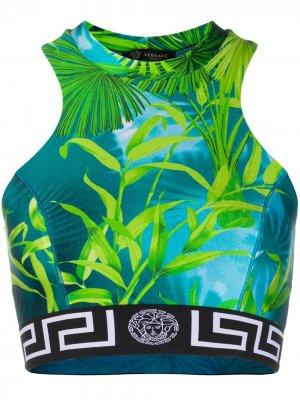 Укороченный топ Jungle Versace. Цвет: синий
