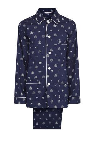 Пижама из хлопкового батиста с контрастным принтом DEREK ROSE. Цвет: синий