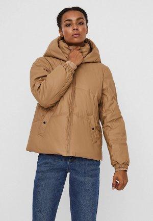 Куртка утепленная Vero Moda. Цвет: бежевый