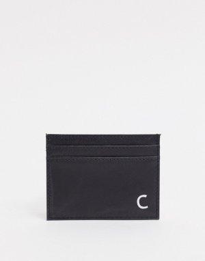 Кожаный кошелек для карт с инициалом C -Черный Peter Werth