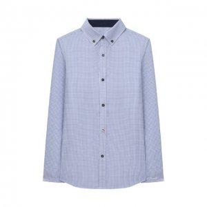 Хлопковая рубашка Alessandro Borelli Milano. Цвет: синий