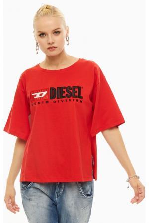 Футболка Diesel. Цвет: красный