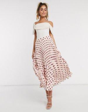 Розовая плиссированная юбка миди в горошек -Розовый Closet London