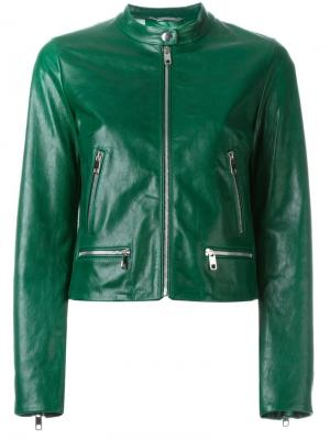 Укороченная кожаная куртка Dolce & Gabbana. Цвет: зелёный