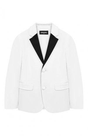 Хлопковый пиджак с платком Dsquared2. Цвет: белый
