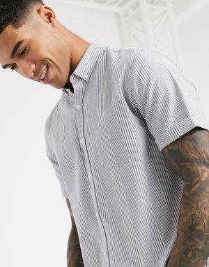 Голубая оксфордская рубашка с короткими рукавами в полоску -Голубой New Look
