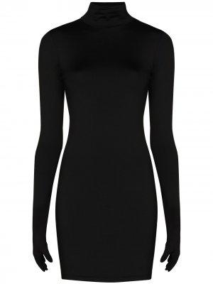 Приталенное платье мини с перчатками Vetements. Цвет: черный