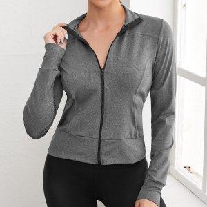 Впитывающая пот спортивная куртка на молнии SHEIN. Цвет: темно-серый