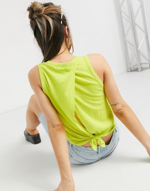 Желтая трикотажная майка с узлом на спине J. Crew-Желтый J Crew