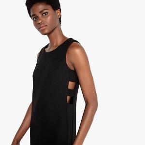 Платье в офисном стиле с разрезом сбоку полосами LA REDOUTE COLLECTIONS. Цвет: черный