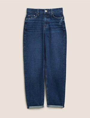 Джинсы-бойфренды до щиколотки Grazer с эластичной резинкой M&S Collection. Цвет: темный индиго