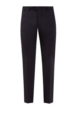 Классические черные брюки из шерстяной ткани Stretch CANALI. Цвет: черный