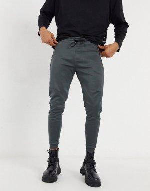 Серые джоггеры с контрастными полосками по бокам -Серый Bershka