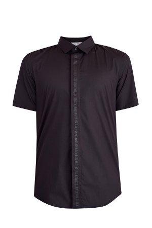 Приталенная рубашка с коротким рукавом и аппликацией в тон BIKKEMBERGS. Цвет: черный