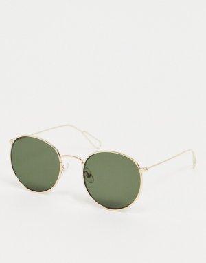 Солнцезащитные очки в круглой золотистой оправе с зелеными стеклами -Золотистый Weekday