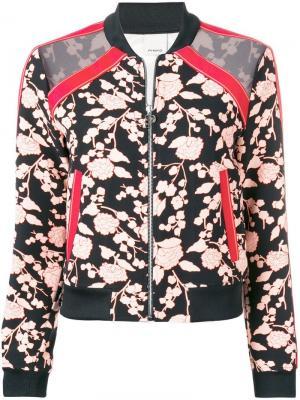 Куртка-бомбер с цветочным узором Pinko. Цвет: черный