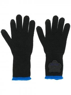 Трикотажные перчатки с нашивкой-логотипом Kenzo. Цвет: черный
