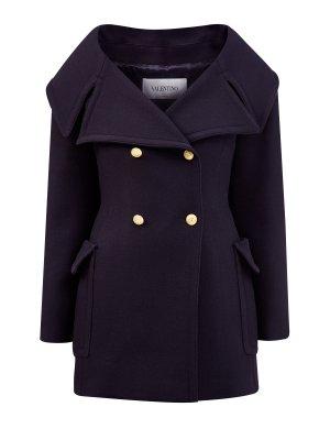 Пальто-бушлат из шерстяного драпа в стиле милитари VALENTINO. Цвет: синий