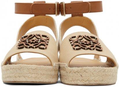 Beige Anagram Espadrilles Sandals Loewe. Цвет: 2692 beige/