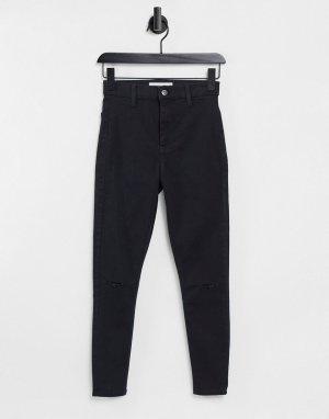 Черные джинсы с рваной отделкой Joni-Черный Topshop