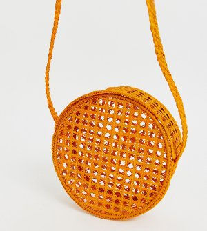 Оранжевая круглая сумка через плечо из рафии KAANAS-Оранжевый Kaanas