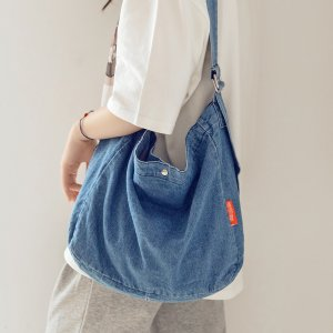 Джинсовая сумка через плечо большой емкости SHEIN. Цвет: синий