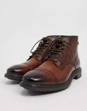 Коричневые кожаные ботинки со вставкой на носке -Коричневый Base London