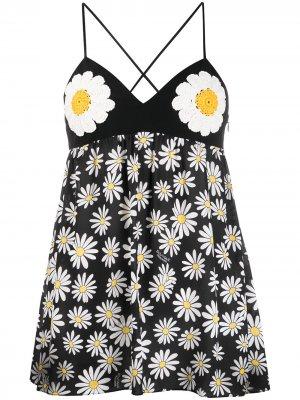 Топ-туника с цветочным принтом Boutique Moschino. Цвет: черный