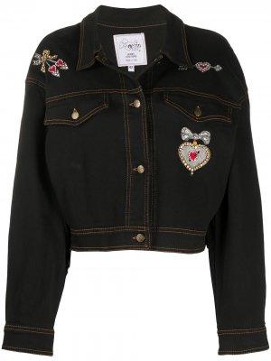 Джинсовая куртка 1980-х годов с вышивкой бисером A.N.G.E.L.O. Vintage Cult. Цвет: черный