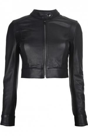 Куртка кожаная Dolce & Gabbana. Цвет: черный